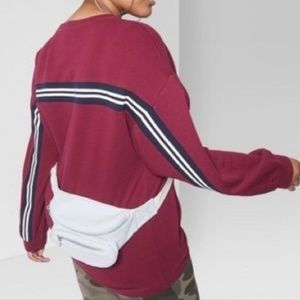 Wild Fable Oversized Maroon Striped Sweatshirt M